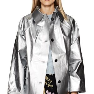 KASSL NWT SILVER LACQUERED COTTON-BLEND TRENCH